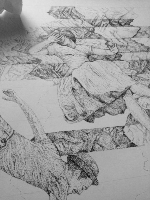 10 hours drawing - Falling Through Noise - James Hayes