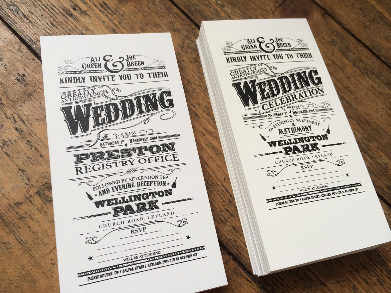 Printed Wedding Invitations: Screen Printed Victorian Style Wedding Invitations