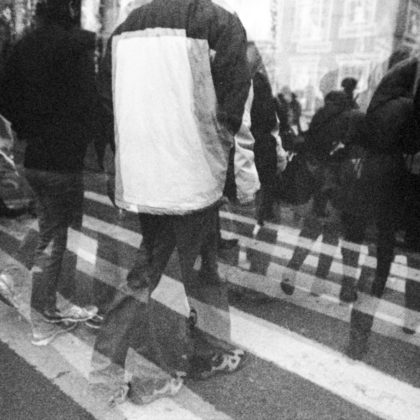 New Yrok City Pedestrian Crossing Ilford HP5 Double Exposure