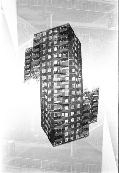 Double Exposed Salford Tower Block Ilford HP5
