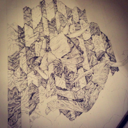 36 hours drawing - Falling Through Noise - James Hayes